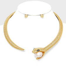 "5.25"" gold snake pearl choker collar necklace earrings"