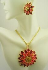 """Joan Rivers Pave Flower Necklace & Earring Set 16"""" 3"""" ext. Pend. is 2""""  Ears 1"""""""
