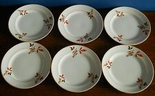 A set of six Art Deco Tea Plates in Black, red and orange