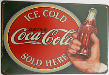 COCA COLA (3) METAL TIN SIGNS vintage cafe pub bar coke decor retro kitchen