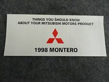 1998 Mitsubishi Montero Quick Reference Guide Owners Manual Supplement