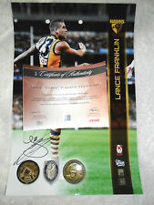 LARGE 18 x 12 INCH LANCE BUDDY FRANKLIN SIGNED IN PERSON HAWKS PRINT AFLPA COA