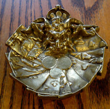 Rare Antique Devils Head And Playing Cards Brass Ashtray-Coin-Trinket Tray