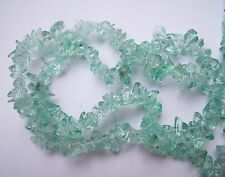 Pale Teal mint green glass chip beads 15""