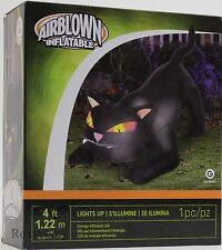 Halloween Gemmy 4 ft Lighted Black Cat Airblown Inflatable NIB