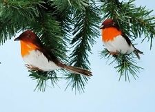 Pack of 2 14cm Robins Table/Cake Christmas Decoration PM236