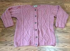 Connemara Aran Fisherman Knit SOFT Merino Wool Cardigan Sweater M Ireland PINK