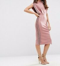 Branded Embellished Trim Open Top Midi Bodycon Dress UK 10/EU 38/US 6