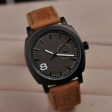 New Hot Sale Wrist Watches Men's Sport Military Quartz Black Leather Watch Strap