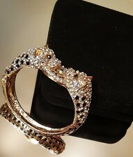 Kenneth Jay Lane Panther Bracelet with Crystals Gold Plated