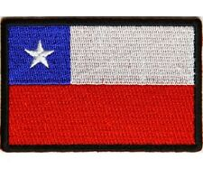 "(H23) CHILE FLAG 3"" x 2"" iron on patch (5197) Biker"
