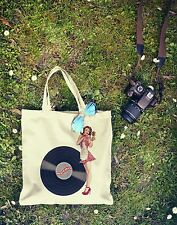 New Rare Canvas Hipster Retro Vintage Pin-Up VINYL LP RECORD Shopping Tote Bag