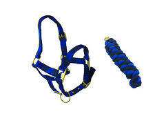 HORSE ( PONY) NAVY BLUE AND BLACK HEAD COLLAR & MATCHING LEAD ROPE SET
