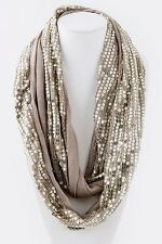 B12 Eternity Sequin One Sided Soft Gold Metallic Infinity Cowl Scarf  Boutique