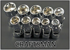 CRAFTSMAN HAND TOOLS 10pc 3/8 Dr 6pt METRIC MM Flex ratchet wrench socket set