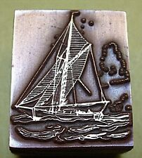 """KETCH"" SAILING BOAT PRINTING BLOCK."