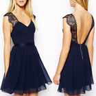 Pretty 1PC Bridesmaid Wedding Evening Party Prom Formal Halter Chiffon Dress Pop