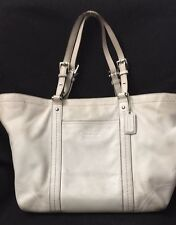 COACH 2008 East West Gallery White Leather Tote Bag 13098
