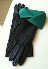 BARNEY'S NY DRAMATIC BLACK LEATHER GLOVES GREEN SUEDE CUFF