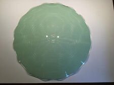 Vintage Mint Green Ripple Ceiling Light Fixture Circle Mid Century Art Deco