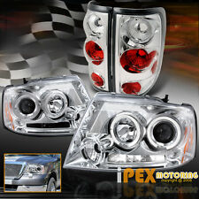 NEW 2004-2008 Ford F150 Dual Halo Projector LED Headlights w/ Tail Light Chrome
