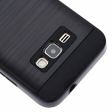 Samsung Galaxy EXPRESS 3 -HARD TPU HYBRID BRUSHED METAL TEXTURE BLACK CASE COVER
