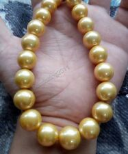 18inch 13-16mm south sea golden pearl necklace 14k gold clasp