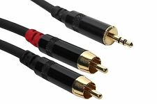 15' Ft Gold 3.5 mm stereo 1/8 TRS to Dual Neutrik RCA Male Y splitter cable.