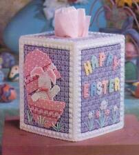 EASTER SURPRISES BUNNY TISSUE COVER PLASTIC CANVAS PATTERN INSTRUCTIONS ONLY
