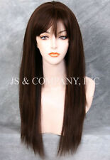 100% HUMAN HAIR Long NEW STRAIGHT Brown Auburn mix WIG IHHI 4-30