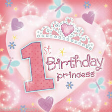 36 Girl's 33cm Pink 1st Birthday Princess 2ply Napkins