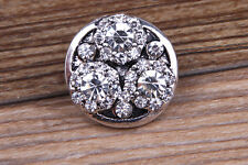 Rhinestone Drill flower Charm Chunk Snap Button fit for Noosa Bracelet BAC139