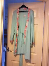 LADIES DRESSING GOWN/WRAP AQUA WITH PEACH TRIM, S12/14 NEW FROM GEORGE