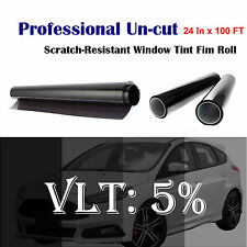 "Uncut Roll Window Tint Film 5% VLT 24"" In x 100' Ft Feet Car Home Office Glass"
