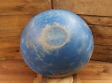 "19th Century Antique Wooden Primitive Bowl in Blue Paint 13 1/4"" by 14 1/4"""