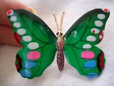 10) VERY CUTE VINTAGE  GOLD TONE COLORFUL ENAMEL BUTTERFLY BROOCH PIN