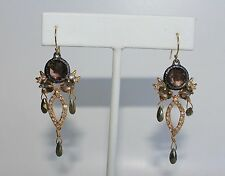 ALEXIS BITTAR Elements Tourmaline Crystal Pyrite Chandelier Earrings NEW $195