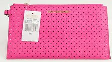 NWT Michael Kors Neon Pink Perforated Saffiano Leather Zip Large Wristlet Clutch