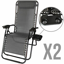 2 Zero Gravity Lounge Beach Chairs+Utility Tray Folding Outdoor Recliner Grey
