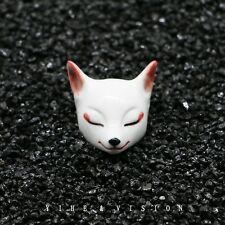 Hand Painted Japanese Fox Mask Necklace Pendant Ceramics Cosplay Accessory