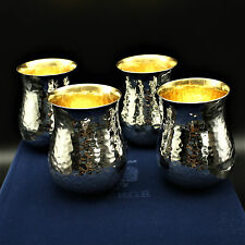 Set of 4 FABERGE Orion Drinking Cups Sterling w/ 24k Gold Plate with Gift Box