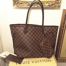 Authentic Louis Vuitton Damier Neverfull MM bag shoulder purse tote with Receipt