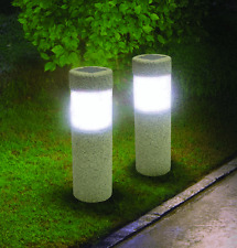 2 Solar Stone Pillar LED Lights Pathway Yard Accent Walking Path Walkway Walk