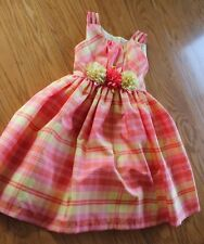 BONNIE JEAN Girl's Orange & Yellow Flower Waist Plaid Dress size 7 Easter spring