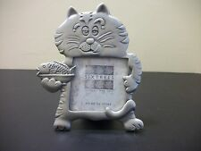 Sixtrees Cat Kitten with fish Picture Frame Metal Pewter Table Top Stand TU3