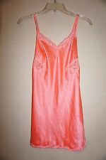 Victoria's Secret coral peach satin slip gown shimmer lace accents size XS NWT