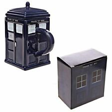 NEW SQUARE LONDON BLUE POLICE BOX TARDIS STYLE CEREMIC NOVELTY MUG LID POLICE