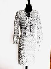 NEW$$$ TAHARI 2PC DRESS SUIT 10 FRENCH BOUCLE EMBROIDERED IVORY BLACK PEARL CHIC