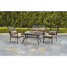 4 Piece Patio Furniture Conversation Set Outdoor Metal Mesh Loveseat Sofa Table