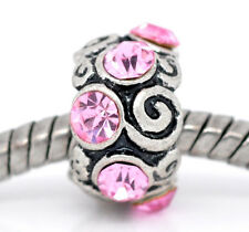Pink Rhinestone October Birthstone Bead for Silver European Style Charm Bracelet